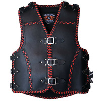 3MM HEAVY DUTY RED BRAIDED LEATHER CLUB VEST
