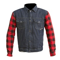 CLEARANCE MERLIN CLASSIC RETRO FLANNEL KEVLAR LINED DENIM MOTORCYCLE RIDING SHIRT