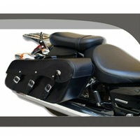 3 BUCKLE HARLEY STYLE 3MM TEK LEATHER MOTORCYCLE SADDLE BAGS SLANTED VALUE