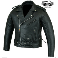 NEW MENS BRANDO MOTORCYCLE CE ARMOUR LEATHER JACKET TOP QUALITY size S -10X