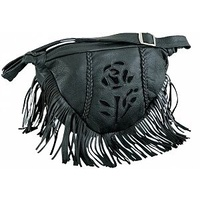 NEW BLACK ROSE BRAIDED TRIM LADIES MOTORCYCLE FRINGED SLING HOBO BAG LEATHER