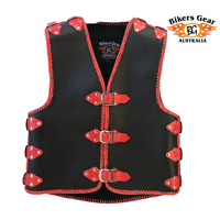 3- 4mm HEAVY DUTY BRAIDED MOTORCYCLE CLUB VEST ** PRE ORDER ** RED