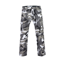 CARGO KEVLAR® LINED MOTORCYCLE JEANS IN CAMO GREY AND BLACK