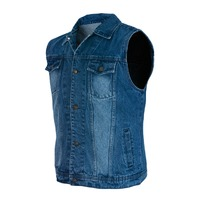 BLUE FADED DENIM SLEEVELESS MOTORCYCLE JACKET VEST