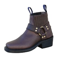 JOHNNY REB CLASSIC RIDE MOTORCYCLE LEATHER BOOTS CHOCOLATE BROWN