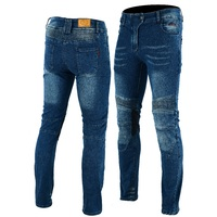 Men's Ribbed Blue Stretch Kevlar®Lined Motorcycle Jeans opt CE Armour