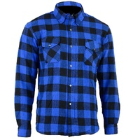 Bikers Gear Motorcycle Kevlar®Lined Flannel Lumberjack Shirt Lined Blue Black