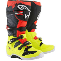 NEW ALPINESTARS TECH 7 MX MOTOCROSS OFF ROAD ADULT BOOT FLURO YELLOW RED GREY BK