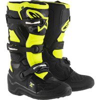 NEW ALPINESTARS TECH 7S KIDS MX MOTOCROSS OFF ROAD YOUTH BOOT BLACK FLURO