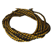 BLACK & YELLOW GENUINE LEATHER BRAIDED BOLO CORD SET OF 2