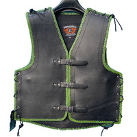 3MM THICK LEATHER NZ GREEN BRAIDED MOTORCYCLE CLUB VEST *** PRE ORDER ***