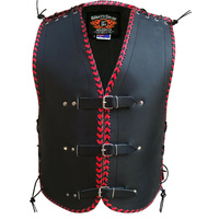3MM THICK LEATHER NZ RED BRAIDED MOTORCYCLE CLUB VEST