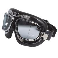RXT OLD SCHOOL MOTORCYCLE FLYING GOGGLES BLACK LEATHER