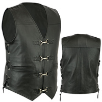 PREMIUM SOFT LEATHER MOTORCYCLE VEST WITH CLIPS