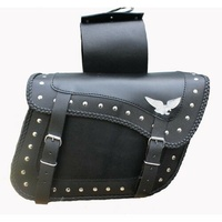 NEW FLYING EAGLE BRAIDED TRIM STUDS MOTORCYCLE SLANTED SADDLE BAGS QUICK RELEASE