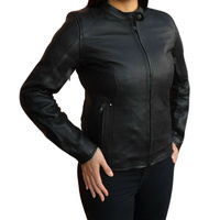 NEW WOMENS SOFT LOOK MOTORCYCLE LEATHER JACKET FULL CE ARMOUR
